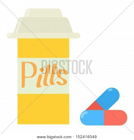 Pills in jar icon. Flat illustration of pills in jar vector icon for web