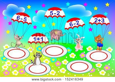 Exercises for children - need to solve examples and to write the numbers on areas where each parachutist has to land. Developing skills for counting. Vector image.