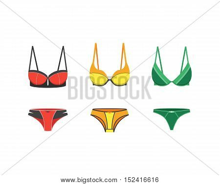 Attractive sexy woman underwear clothing isolated on white. Romantic and sensual wear set. Bras and panties. Modern lingerie flat fashion design vector illustration. Brassiere clothes for women breast