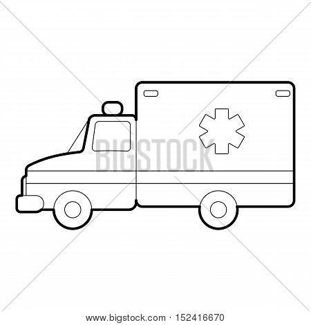 Ambulance icon. Outline illustration of ambulance vector icon for web design