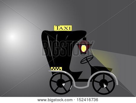 the picture old convertible taxi with a lantern