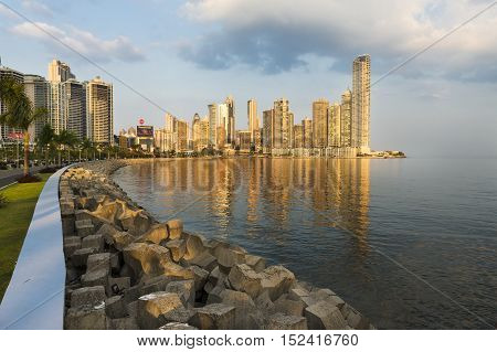 Panama City Panama - March 18 2014: View of the financial district and sea in Panama City Panama at sunset.