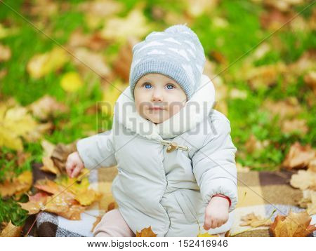 baby girl sitting on the grass in the autumn park