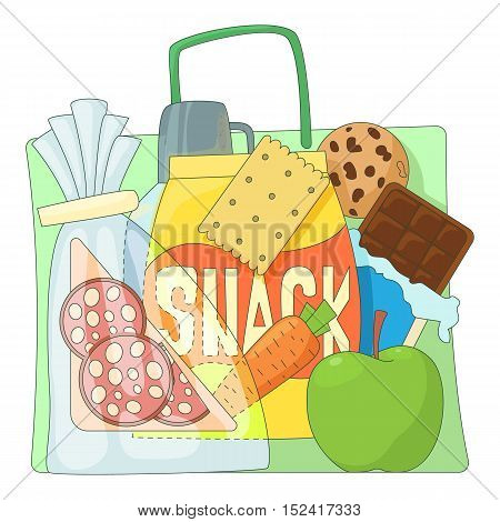 Bag with purchases icons set. Flat illustration of bag with purchases vector icons for web