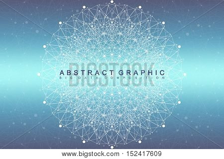 Fractal element with compounds lines and dots. Big data complex. Graphic abstract background communication. Minimal array. Digital data visualization. Vector illustration