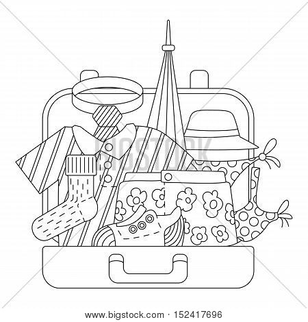 Suitcase with clothes icons set. Outline illustration of suitcase with clothes vector icons for web