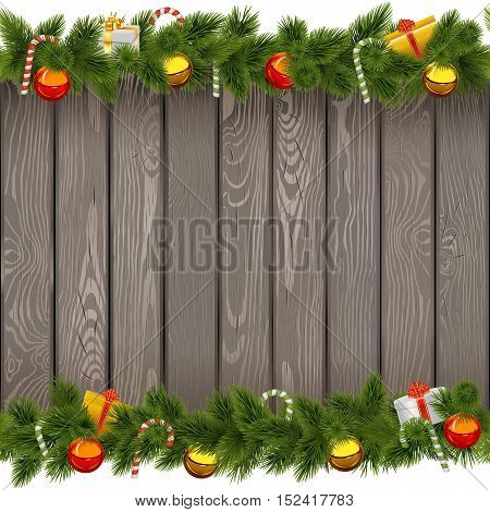 Vector Seamless Christmas Border with Lollipop on Old Board isolated on white background