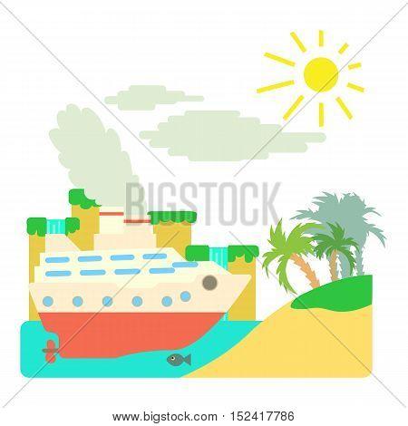Ship in sea near island concept. Flat illustration of ship in sea near island vector concept for web