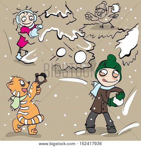 Boy and girl playing snowballs. Vector cartoon illustration