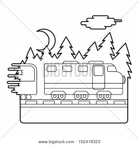 Train in night rides through forest concept. Outline illustration of train in night rides through forest vector concept for web