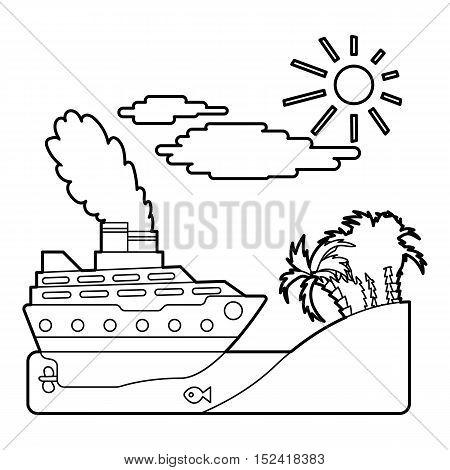 Ship in sea near island concept. Outline illustration of ship in sea near island vector concept for web