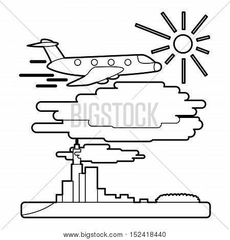 Plane flies over city concept. Outline illustration of plane flies over city vector concept for web