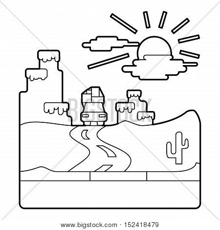 Travel by car in desert concept. Outline illustration of travel by car in desert vector concept for web