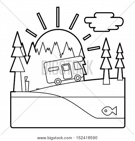 Trip by camper in forest concept. Outline illustration of trip by camper in forest vector concept for web