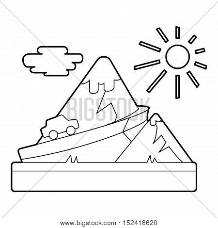 Travel by car in mountains concept. Outline illustration of travel by car in mountains vector concept for web