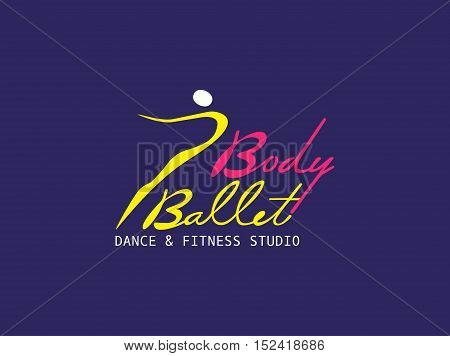 Dance icon concept. Ballet studio logo design template. Fitness dance class banner background with symbol of abstract ballerina in dancing pose. Modern bright color. Vector illustration.