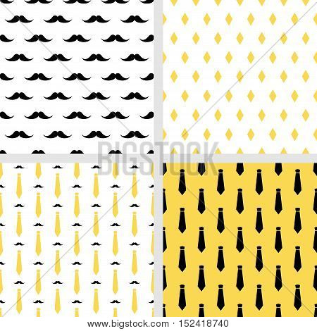 Set of printable vector seamless hipster patterns. Fashion backgrounds. Mustaches and neckties