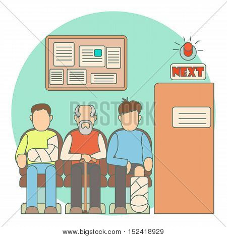 Turn to doctor in hospital concept. Flat illustration of turn to doctor in hospital vector concept for web