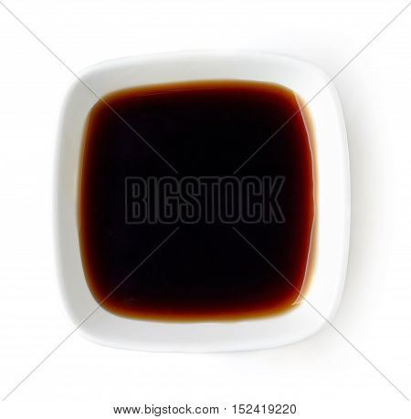 Bowl Of Balsamic Vinegar Isolated On White, From Above