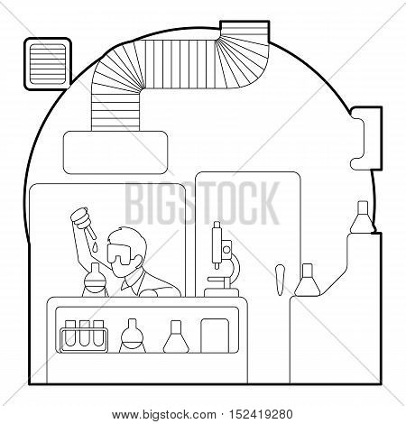 Chemist working in laboratory concept. Outline illustration of chemist working in laboratory vector concept for web