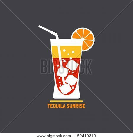 Drinks concept. Tequila sunrise Flat design icon. Cocktail in glass with orange slice. Template for logo or advertisement. Element for club event banner background. Vector illustration