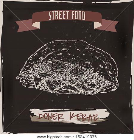 Doner kebab sketch on black grunge background. Turkish cuisine. Street food series. Great for market, restaurant, cafe, food label design.