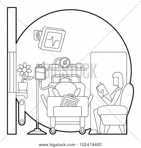 Sick man lies in hospital ward concept. Outline illustration of sick man lies in hospital ward vector concept for web