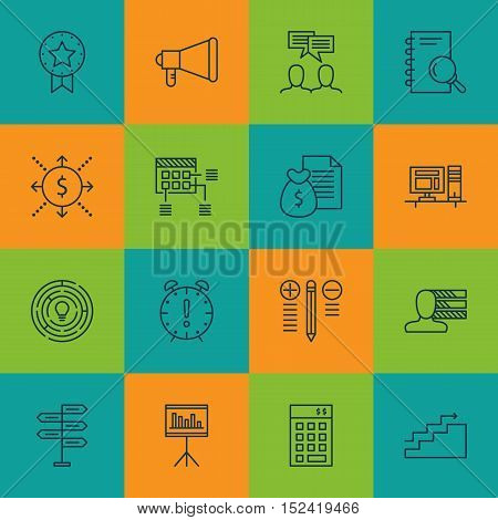 Set Of Project Management Icons On Announcement, Growth And Money Topics. Editable Vector Illustrati