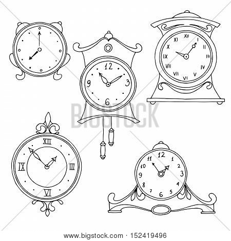Clock graphic set art black white isolated sketch illustration vector