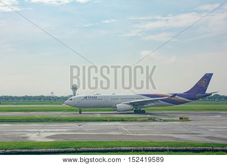 BANGKOK THAILANDAUGUST 25: Thai Airways flight is movement in runway at Suvarnabhumi airport in Bangkok on August 25 2016
