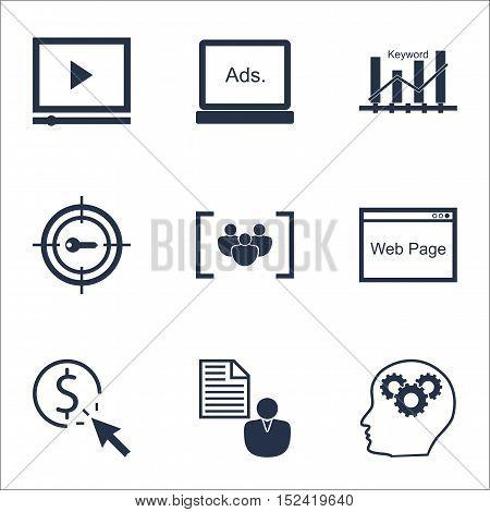 Set Of Seo Icons On Keyword Marketing, Brain Process And Report Topics. Editable Vector Illustration