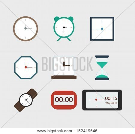 Watches in different colors icons for web vector set. Flat style.