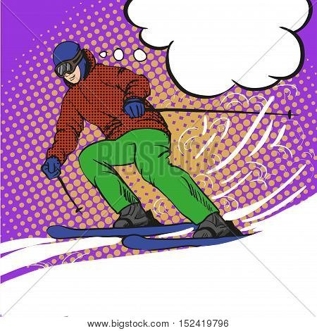Man skier skiing in mountains. Vector illustration in pop art retro style. Winter sports vacation concept.
