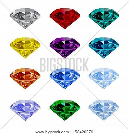 Set of shining jewels isolated on white background. Jewel and jewelry. Colorful gems and gemstones. Diamond emerald ruby topaz sapphire garnet grandidier tourmaline vector and logo