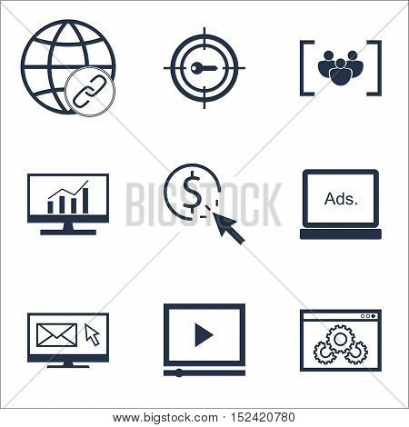 Set Of Seo Icons On Connectivity, Website Performance And Video Player Topics. Editable Vector Illus