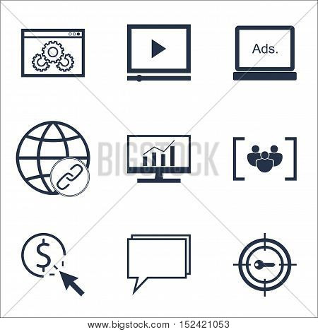 Set Of Marketing Icons On Website Performance, Connectivity And Digital Media Topics. Editable Vecto