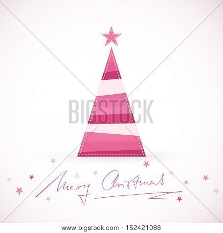 A triangular shaped Christmas tree made of differently colored stripes in shades of purple, pink and red with a star tree topper and handwritten Merry Christmas surrounded by little stars.