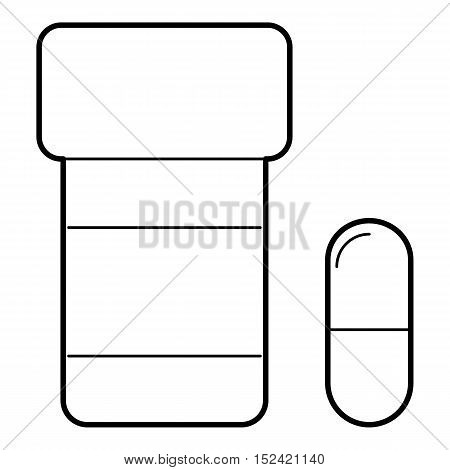 Pills in jar icon. Outline illustration of pills in jar vector icon for web isolated on white background