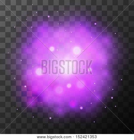 Purple bright light, magic effect in the dark