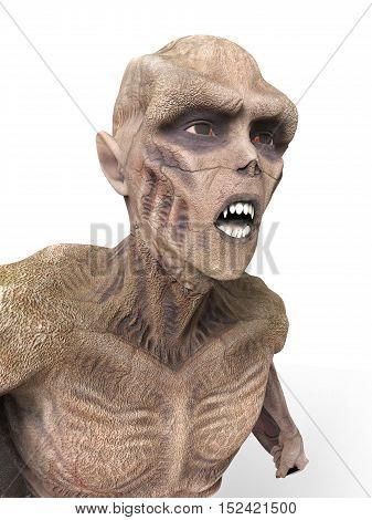 Vampire Strigoi 3D Illustration Isolated on White