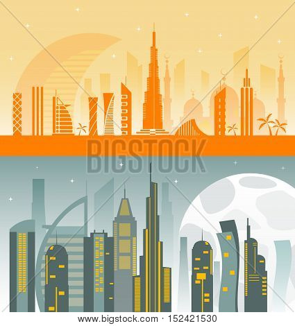 Two banners with Dubai city skyline. Vector illustration