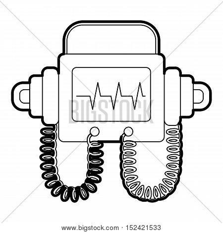 Defibrillator icon. Outline illustration of defibrillator vector icon for web
