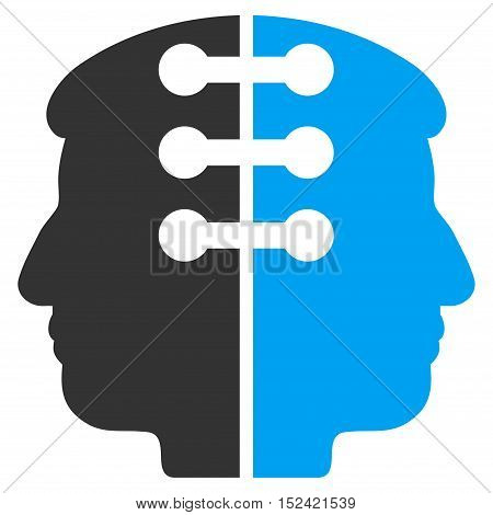 Dual Head Interface vector pictograph. Style is flat graphic bicolor symbol blue and gray colors white background.