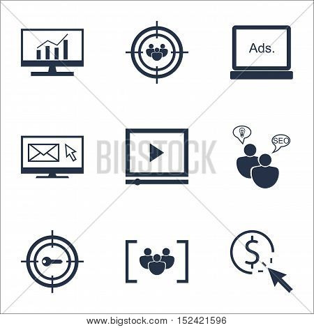 Set Of Marketing Icons On Ppc, Video Player And Focus Group Topics. Editable Vector Illustration. In