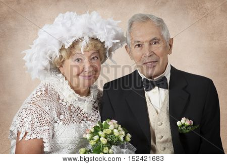 Wedding portrait of an elderly couple who lived fifty years together