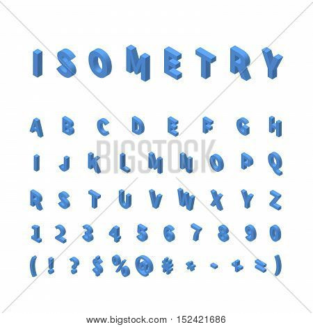 Isometric letters isolated on white. Blue isometric font. Latin alphabet in isometric view. 3D isometric letters.
