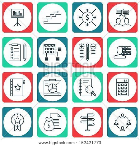 Set Of 16 Universal Editable Icons For  Topics. Includes Icons Such As Schedule, Reminder, Discussio