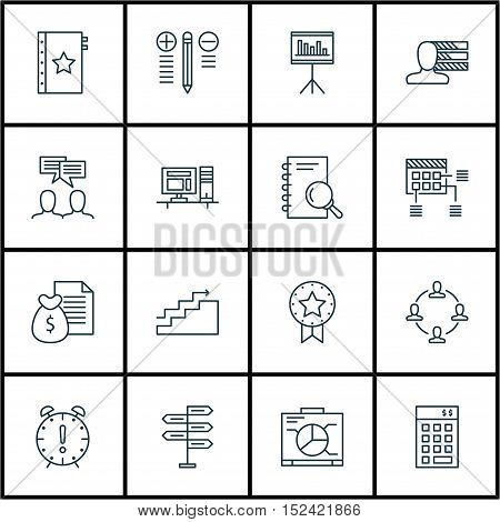 Set Of Project Management Icons On Presentation, Computer And Growth Topics. Editable Vector Illustr