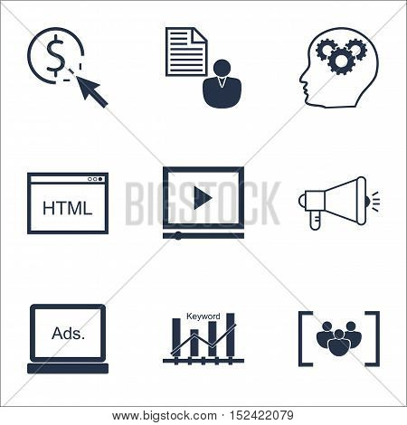 Set Of Seo Icons On Coding, Report And Ppc Topics. Editable Vector Illustration. Includes Per, Group