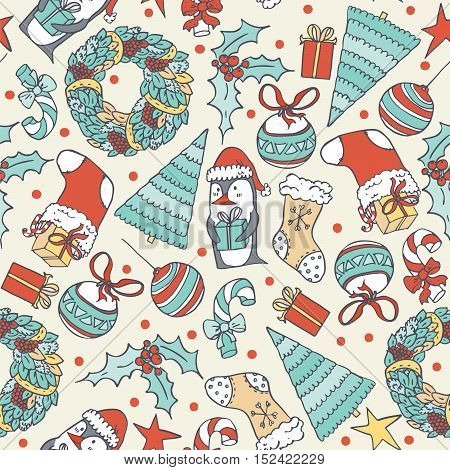 Seamless christmas pattern with hand drawn penguin with present christmas tree and objects. Doodles in simple graphic style. Vector decorative illustration in blue and red colors on beige background